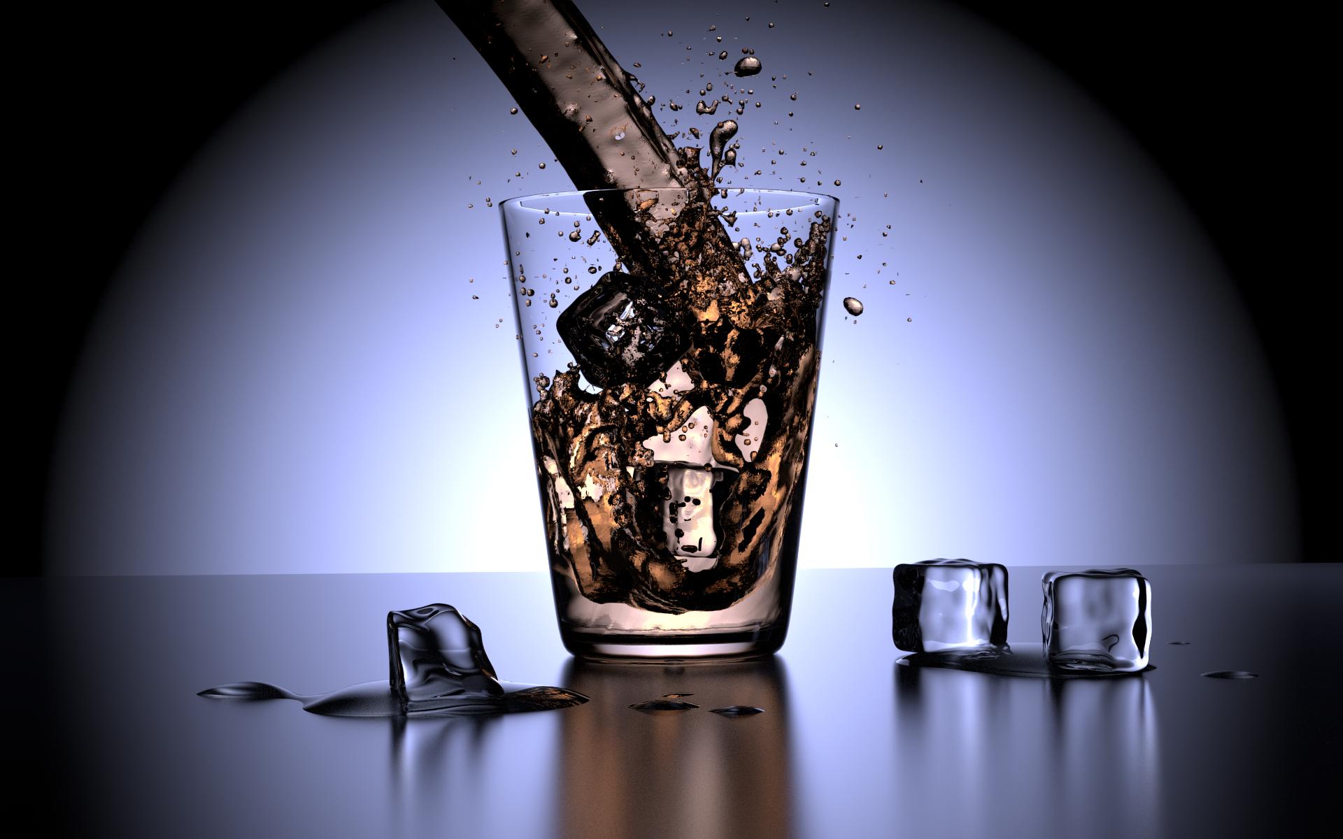 Wasserglas mit Eiswürfeln - kein Stilleben - erstellt mit Blender